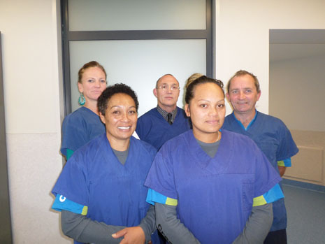 Hawkes Bay Franchisee Sophie Chase and her CrestClean team, ready for hospital work, with Regional Director Abby Latu, left, with Regional Co-ordinator Gary Amy, center.
