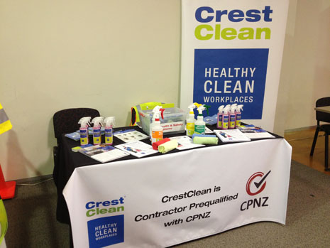 CrestClean's display table showcased our environmentally responsible chemicals and information on SafeClean, our Health, Safety and Environmental Management System.