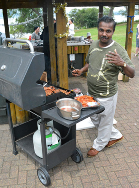 Fortunately, new franchisee Lalith Degambada is a professional chef, too, and stepped in to help at the grill.