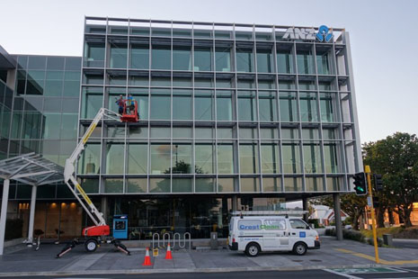 The Pure Water Window Cleaning System can be used from ground level -- most of the time. Unique louvres on this corner of the ANZ Building in Tauranga require a bit of extra equipment to make it safe and effective.