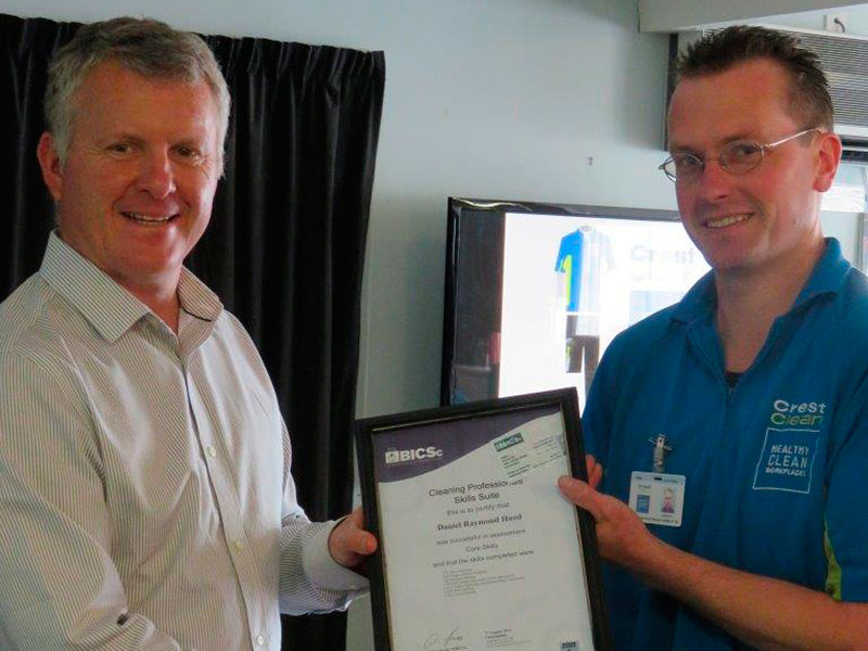 Daniel Hood received his British Institute of Cleaning Sciences Cleaning Professional Skills Suite Module 2 completion certificate.