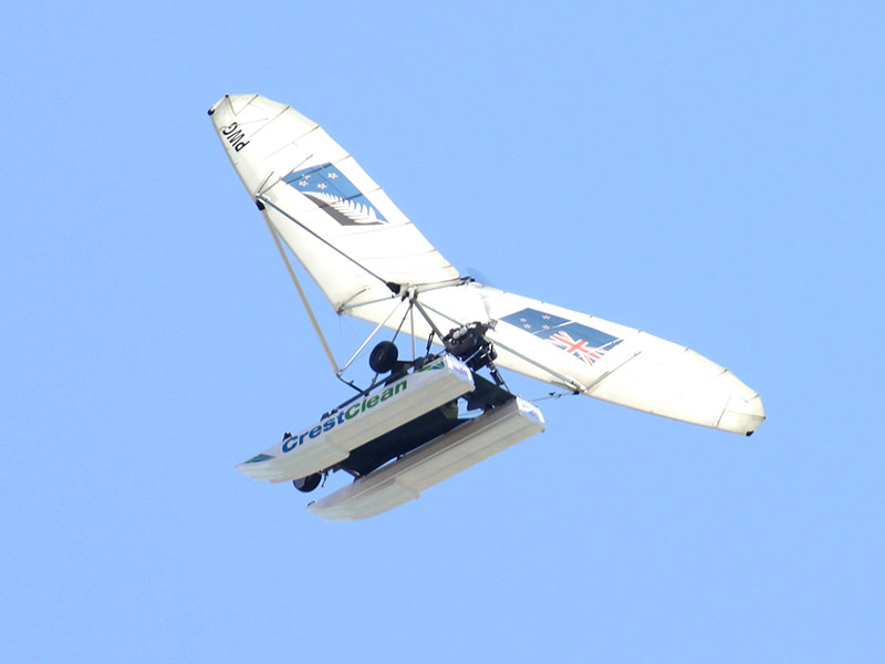 The CrestClean sponsored Amphibious Microlight displays New Zealand's two flag options – the current New Zealand flag and the contender flag.