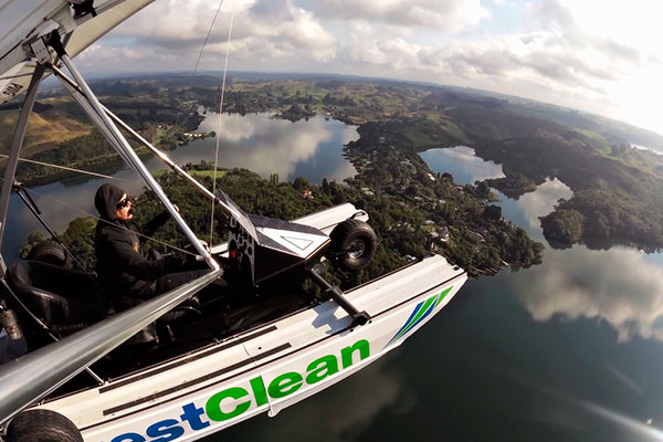 Lake Rotoiti provided a pleasant view as did the remainder of Rotorua for Pilot Derek Holmes in the CrestClean Amphibious Microlight.