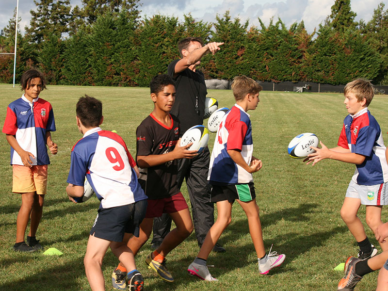 Kerikeri Franchise owner Brian Moffat enjoyed watching John Leslie (pictured) carry out the CrestClean LeslieRugby Junior Rugby Coaching Programme that was held in Kerikeri.