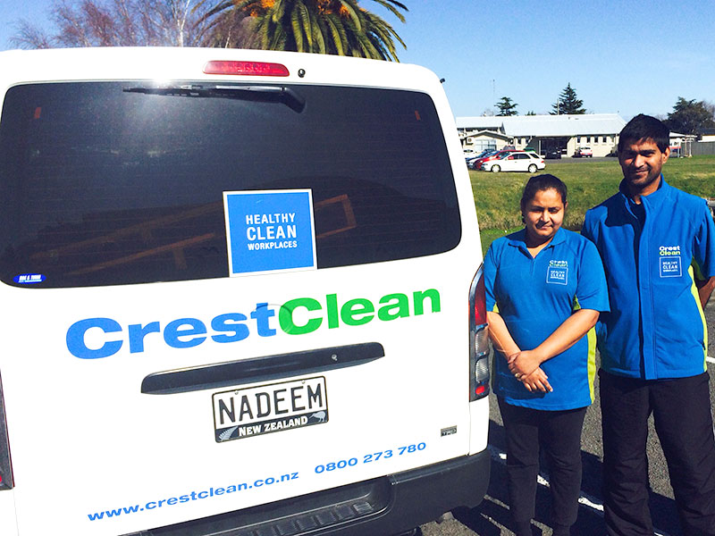 Hawkes Bay franchisees Rima Naidu and Nadeem Mohammad take pride in their CrestClean vehicle.