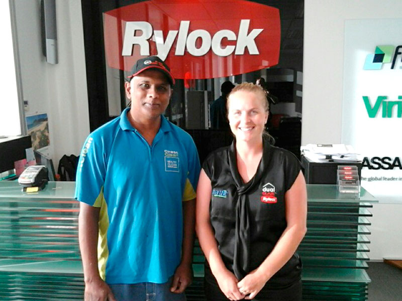 North Harbour franchisee Ashveen Raju enjoys taking care of Rylock Auckland's premises. He is pictured with office administrator Barbara James.