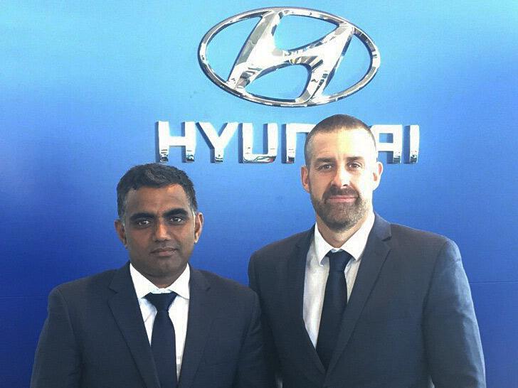 Lakshman Jetti seen with Ingham Hyundai's Dealer Principal Euan Means.