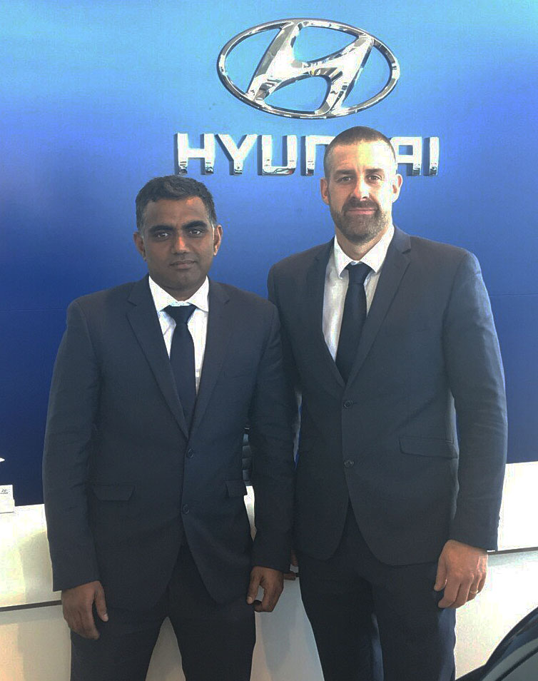 Lakshman Jetti seen with Ingham Hyundai's Dealer Principal Euan Means.