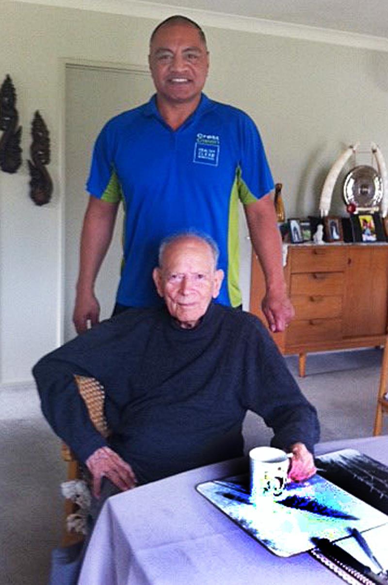 Fiva Latu with 100-year-old Douglas Blake.