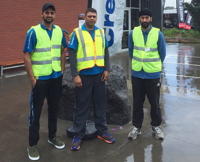 Franchisee Ram Kumar (centre) with Simarjeet Singh and Manjinder Singh.