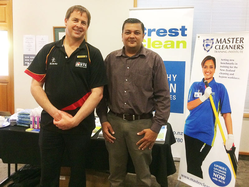 Hamish Fenemor, who is on the organising committee of the Waikato Principals Association, with Nivitesh Kumar, Crest's Waikato Regional Manager.