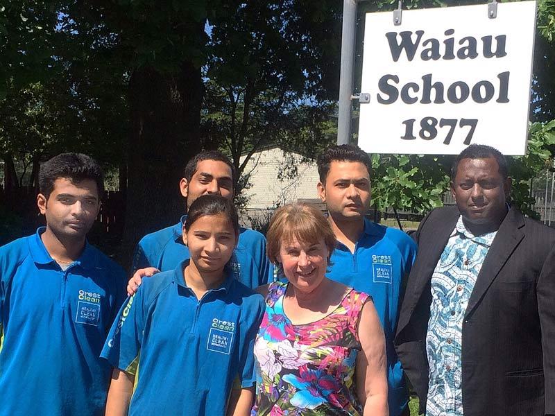 The Crest cleaning team (back row from left) Kumar Raj, Chithan Kumar, Jaydeep Patel, Sanjeev Raj. Front: Bhoomi Patel and Waiau School Principal Mary Kimber.