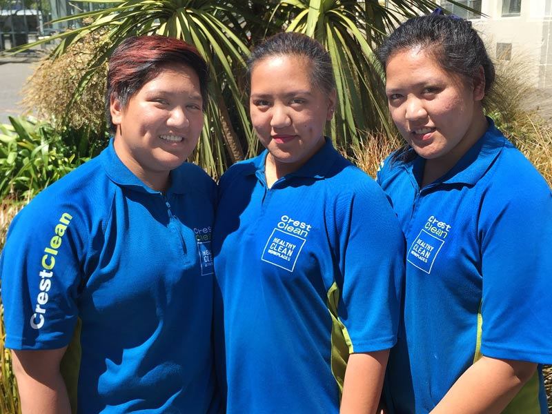 Triplets Jing-Jing, Jeliza and Jemariz Manicia help to keep their old school clean.
