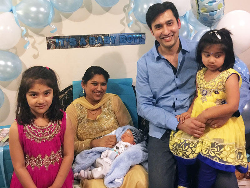 Ashneer and Durgeshni Datt with baby boy Daksh and their daughters Mahi and Adhira.