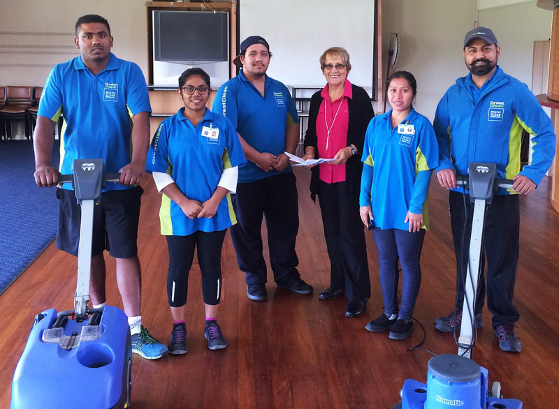 Master Cleaners Training Institute's Dawne Glenie (centre right) with Krish Kumar, Deepiksha Naicher, John Brownlie, Marilou Anover, and Randeep Singh