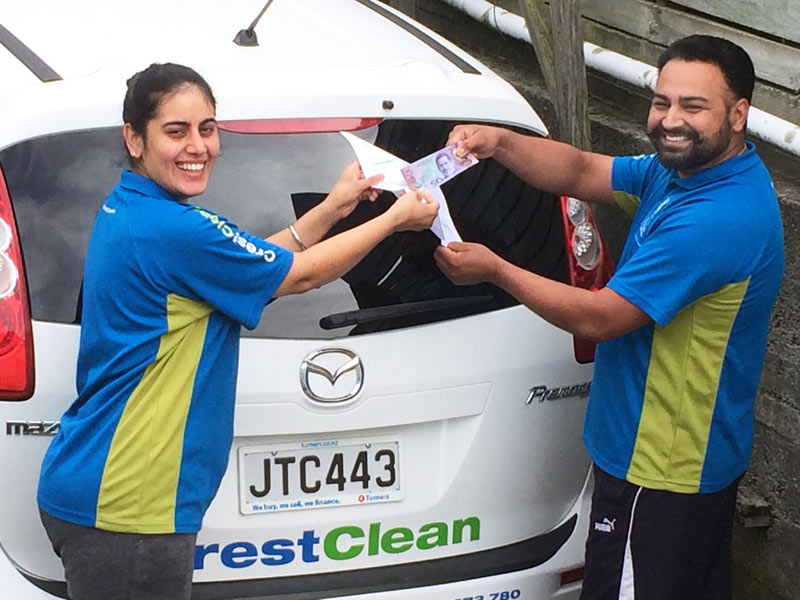 Randeep and Kiran Singh can't decide who should pocket the cash.