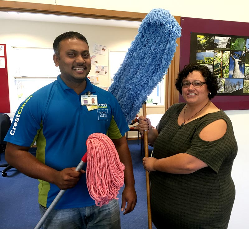 Shalvin Raj with Jo Hardwidge, Avondale Intermediate School Principal.