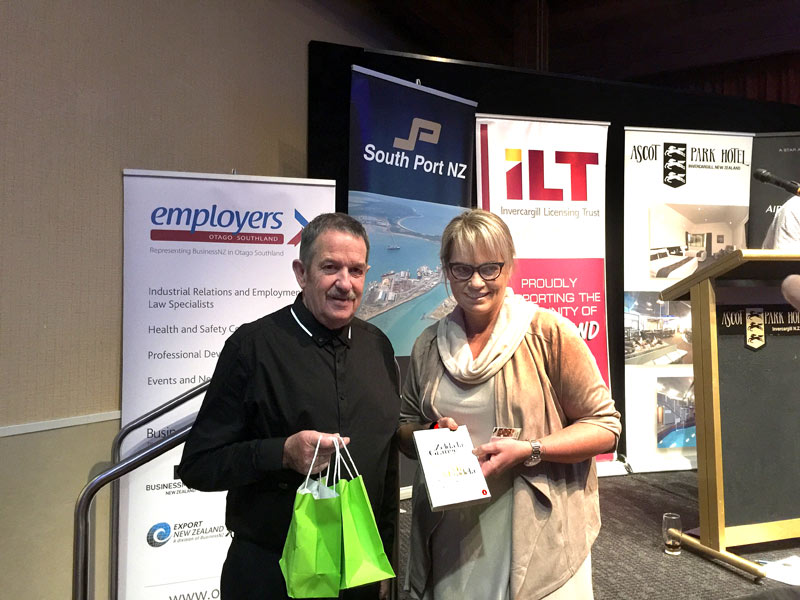 Glenn Cockroft with guest speaker Zelda La Grange. Goodie bags from CrestClean greeted guests at the Invercargill lunch.