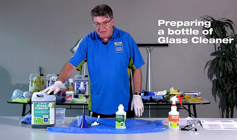 Adam Hodge, CEO of the Master Cleaners Training Institute, during a demonstration on one of the new videos.