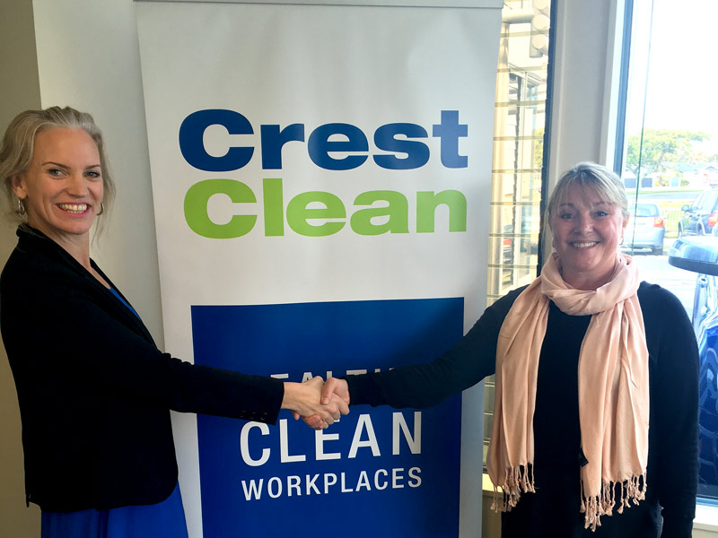 Abby Latu, CrestClean's Hawkes Bay Manager, with Tracey Le Lievre.
