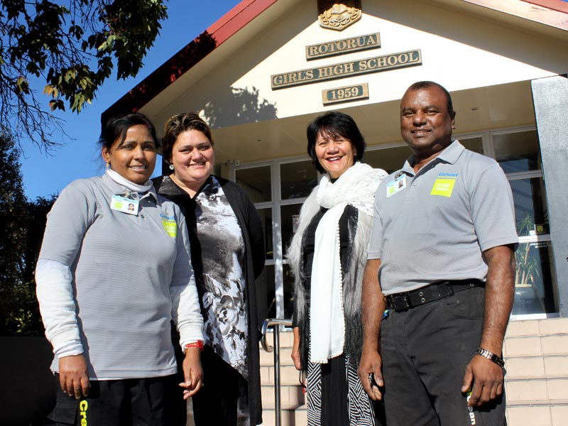 CrestClean's Rajni Chand and Hemant Kumar with Rotorua Girls High School Principal Ally Gibbons, and Assistant Executive Officer Heidi Symon.