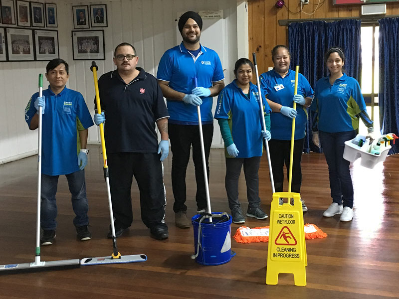 Clinton Storer (second left) joins CrestClean personnel on the course. The upskilling event was taken by Jo Singh (centre). Also in the picture are Snyder Olegario, Nilmini Mudiyanselage, Heather Rapana and Manreet Kaur.