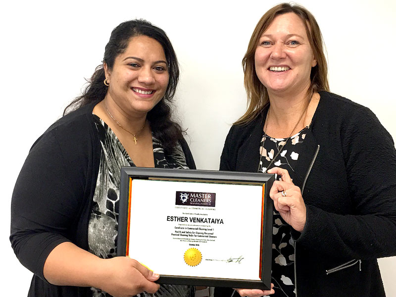 Esther Venkataiya receives her certificate from Kiri James, Christchurch South Regional Manager