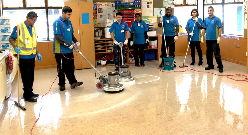 Master Cleaners Training Institute trainer Praneel Prasad (far right) with participants on the Hard Floor Care course who were delighted with the shiny results of their labours.