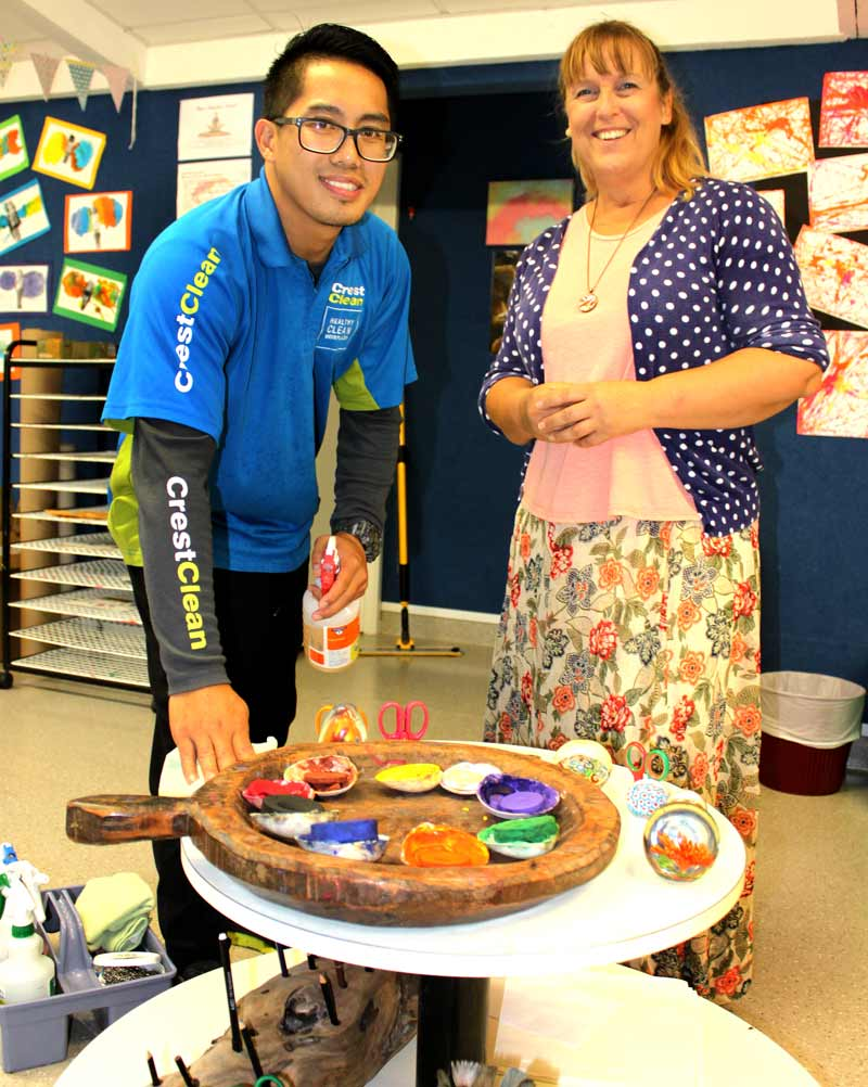 Alex Lopez enjoys keeping everything clean at Inspired Otumoetai. With him is Jacqui Pritchard, Head Teacher.