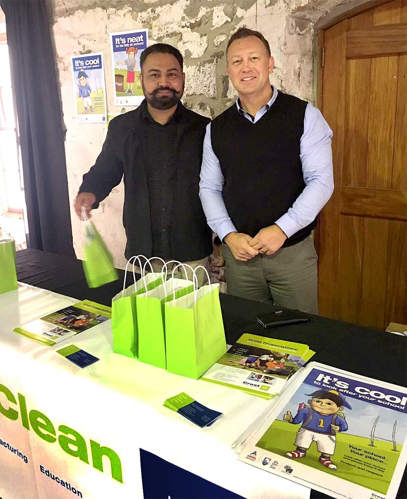Franchisee Randeep Singh with Robert Glenie, CrestClean's South Canterbury Regional Manager.
