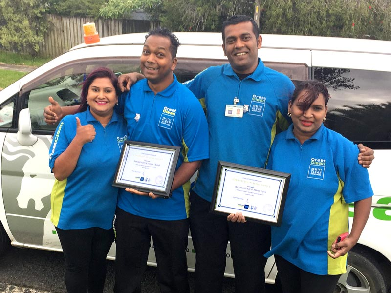 Certificates of Long Service for Sawant Sami (second left) with his wife Caroline and his sister Sonia Naicker (far right) and franchisee Ravinesh Raj.