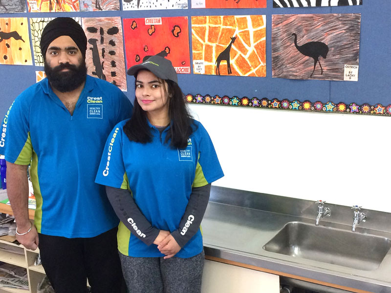 Look how shiny the sink is. Amrit Singh and Karamjit Kaur have received great feedback from Beaconsfield School.