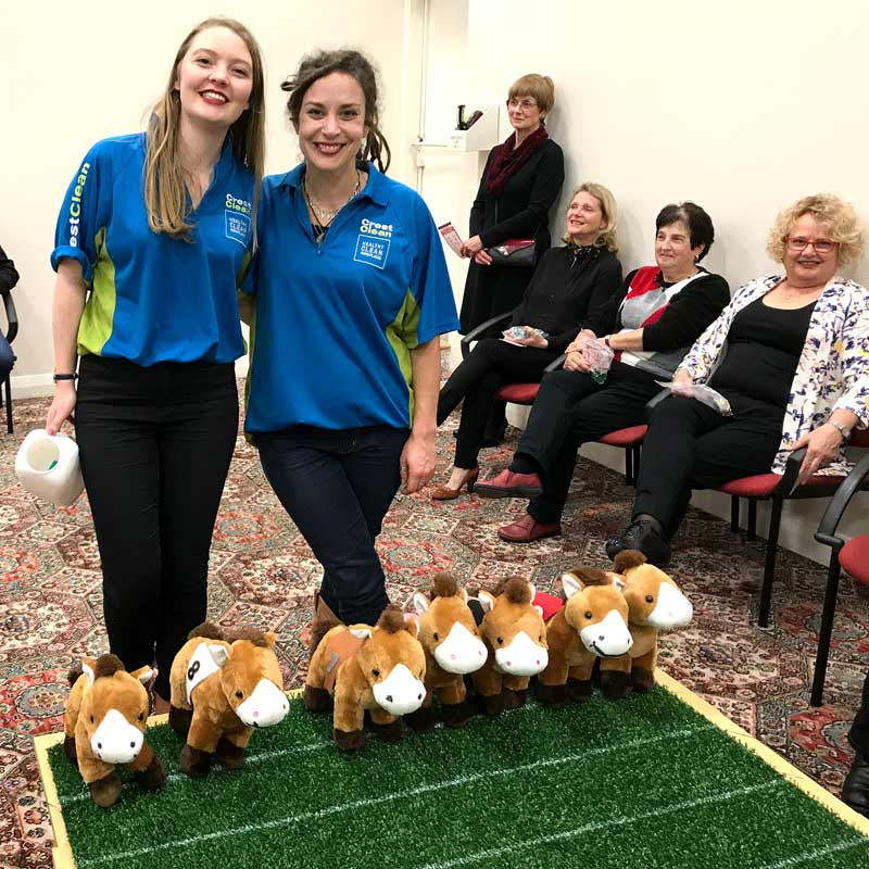 Fine fillies Victoria Triegaardt and Hayley Burns wore CrestClean tops for their role as stewards at the fundraiser.