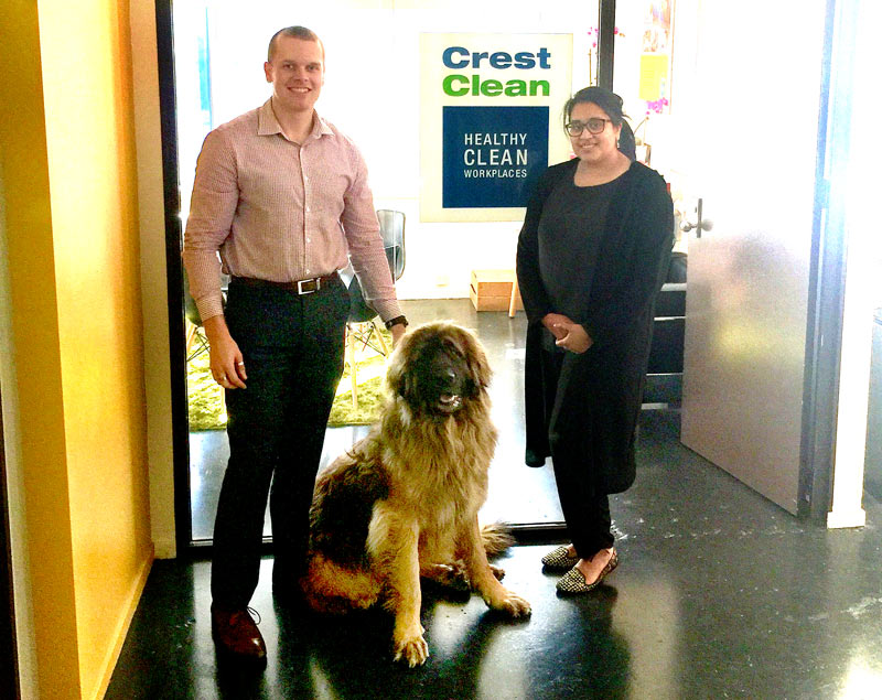 Philip Wilson, Wellington Quality Assurance Co-ordinator, meets Leon at CrestClean's new Hutt Valley office. Looking on is Hutt Valley Regional Manager Zainab Ali.