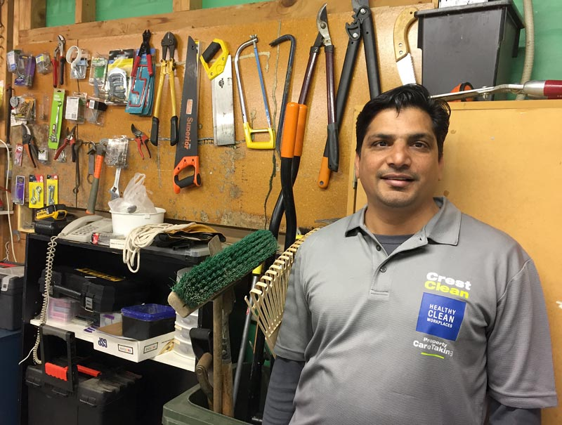 Manjinder Sandhu rearranged the caretaker's shed, fitting shelves and making everything easily accessible.