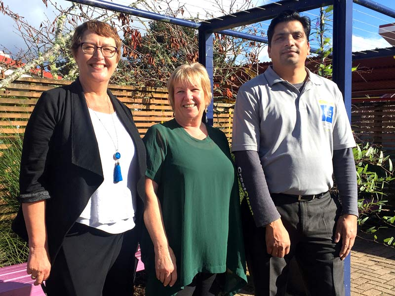 Barb Dysart (centre) with Caroline Wedding and Manjinder Sandhu.