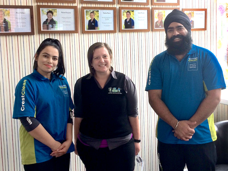 ABC Marchwiel Centre Manager Tash Joyce with Armit Singh and Karamjit Kaur.