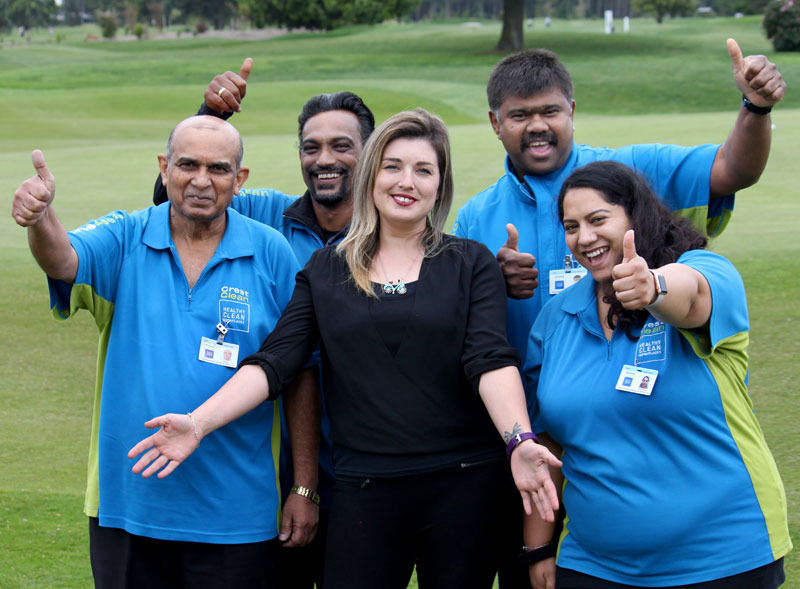 Gina Holland, CrestClean's new Christchurch South Regional Manager, meets some of her team members. Helping her celebrate her new role are Maya Ram, Kumaran Nair, John Kumar and Ester Venkataiya.