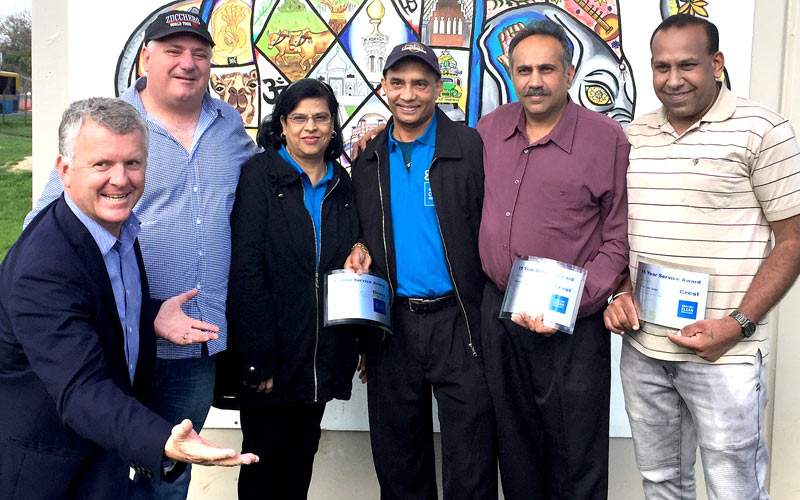 CrestClean's Managing Director Grant McLauchlan (left) with Dries Mangnus, Anjila and Avendra Kumar, Resham Singh and Kamal Jeet Singh.