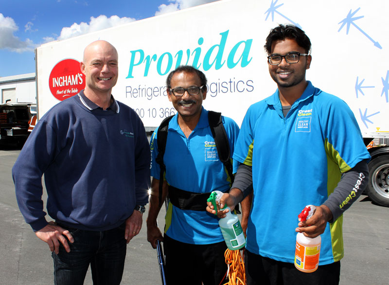 Gaine Dalbeth, Operations Manager Provida Foods, Hamilton, is more than happy with the cleaning services provided by John and Deepak Selvaraj.