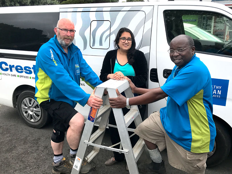 Crest PropertyCare caretakers Alex Whitefield and Froduald Mugiraneza with CrestClean's Hutt Valley Regional Manager Zainab Ali at the training and assessment course for working at heights.