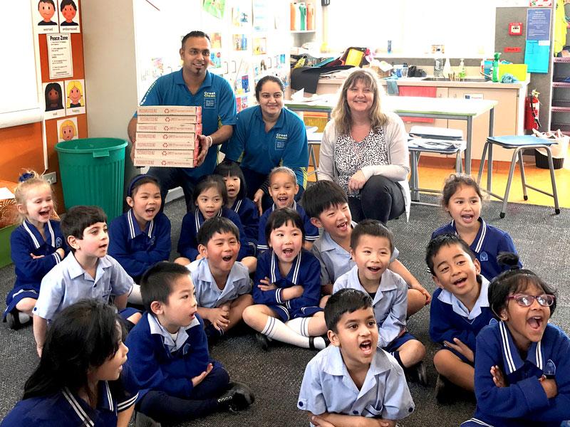 Ajneel and Bhartika Singh with Room 5 teacher Carolyn Thomas at Sancta Maria Catholic Primary School.