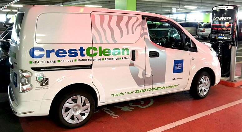 "2017: This brand new CrestClean Nissan e-NV200 van is a state of the art all-electric vehicle. It carries the logo: ""Lovin' our ZERO EMISSION vehicle""."