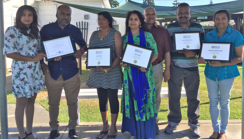 Long service awards and recipients of training certificates. From the left are: Ronesh and Iyotisha Nana, Muni Dewan, Tency and Joseph Sabu, Nalin Dissanayake and Nadeesha Arachchige.