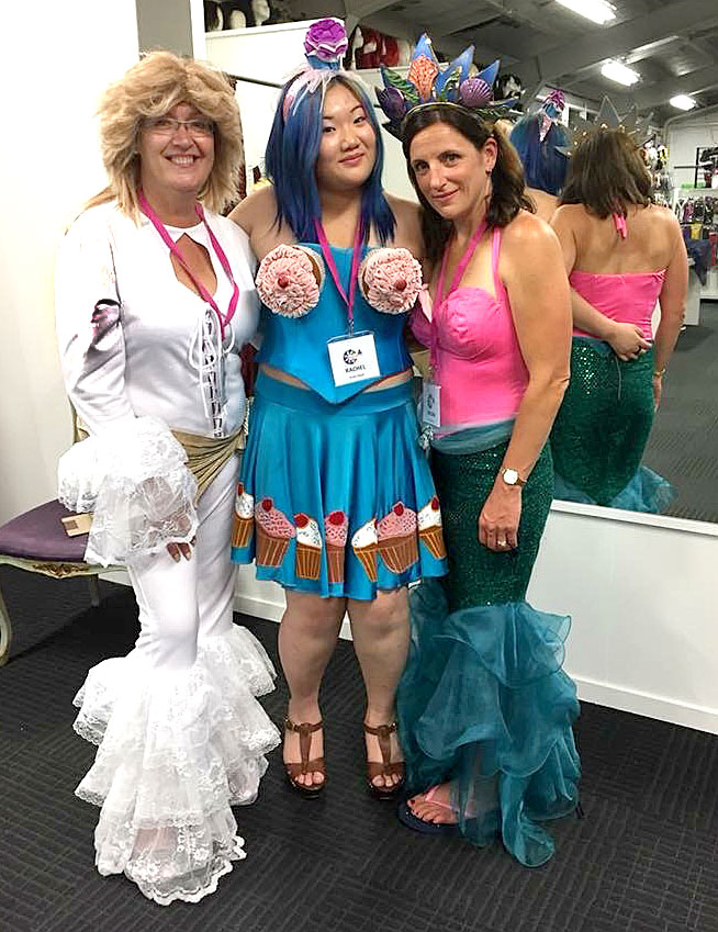 All dressed up for the charity night are Caroline Wedding, Rachel Fan and Megan Miles.