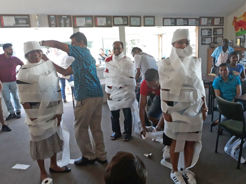 A party game using loo rolls turned people into paper mummies.