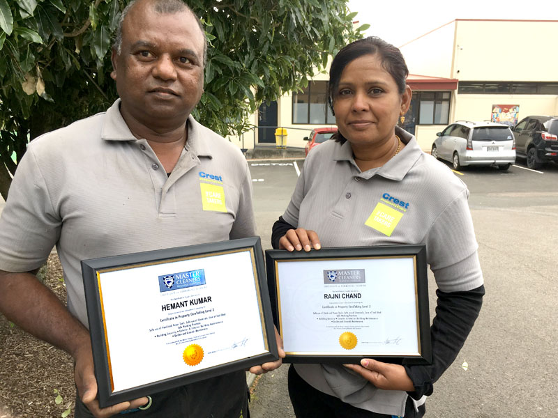 Hemant Kumar and Rajni Chand are proud of gaining their Certificate in Property CareTaking.