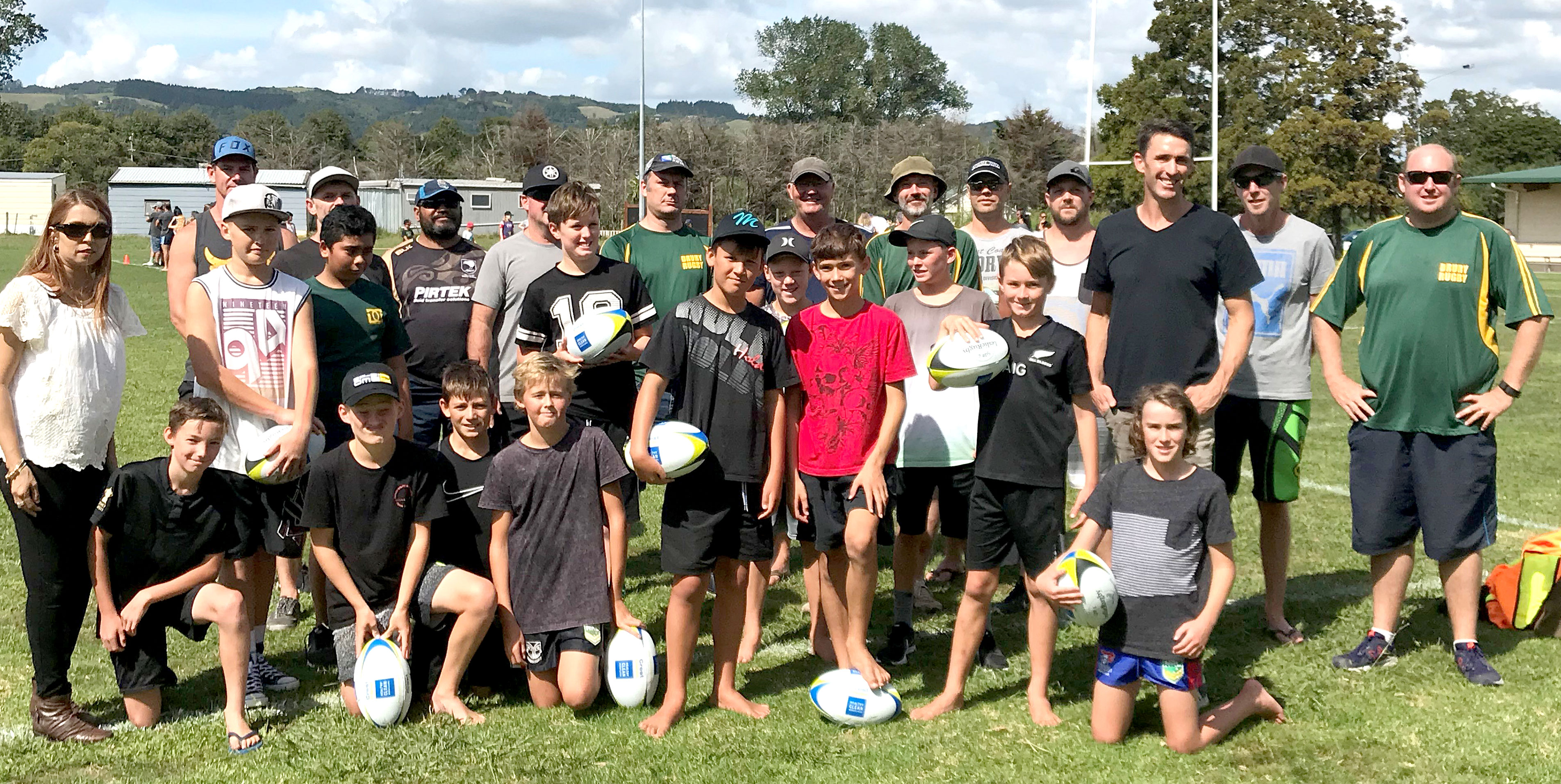 Parents and youngsters who attended one of the first coaching sessions at Drury, Auckland.