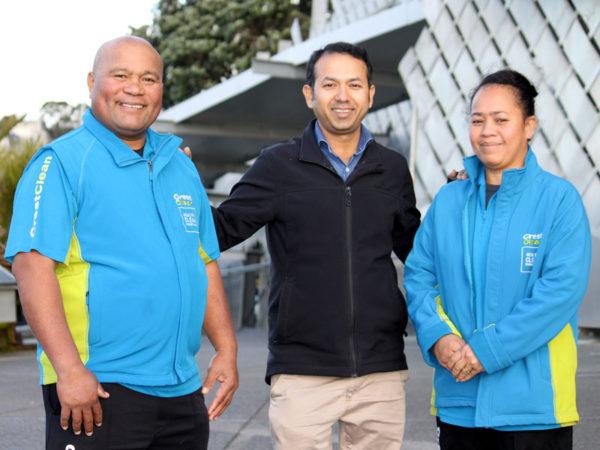 Makalita Afelee and Afelee Niumea with CrestClean's Taranaki Regional Manager Prasun Acharya.