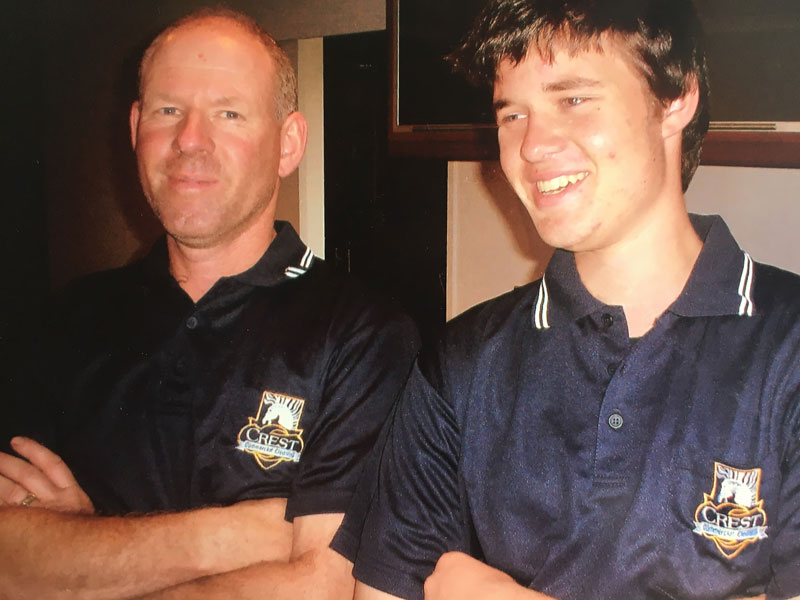 Shane and his son Lars on their first day with CrestClean in 2008.